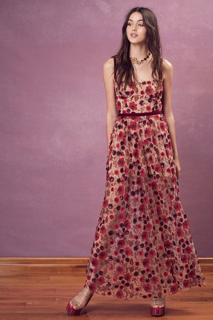FOR LOVE & LEMONS - Beatrice Strappy Maxi Dress - Bouquet