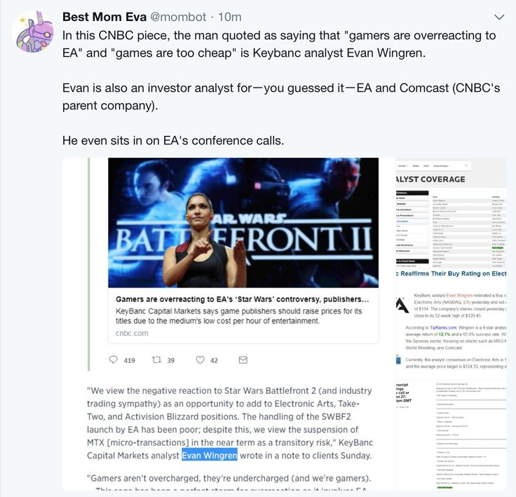 """Analyst who said """"Gamers are overreacting to EA"""" and that games are too cheap is an investor analyst for EA and Comcast."""