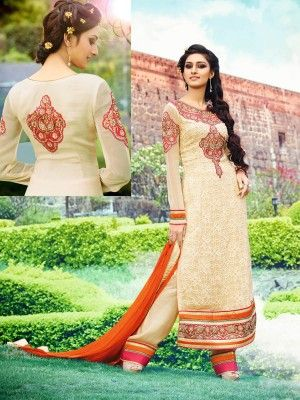Beige Royal Georgette Elegant Designer Salwar Kameez   Designer salwar collection for Eid 2015  www.parisworld.in #Eid #salwar #parisworld