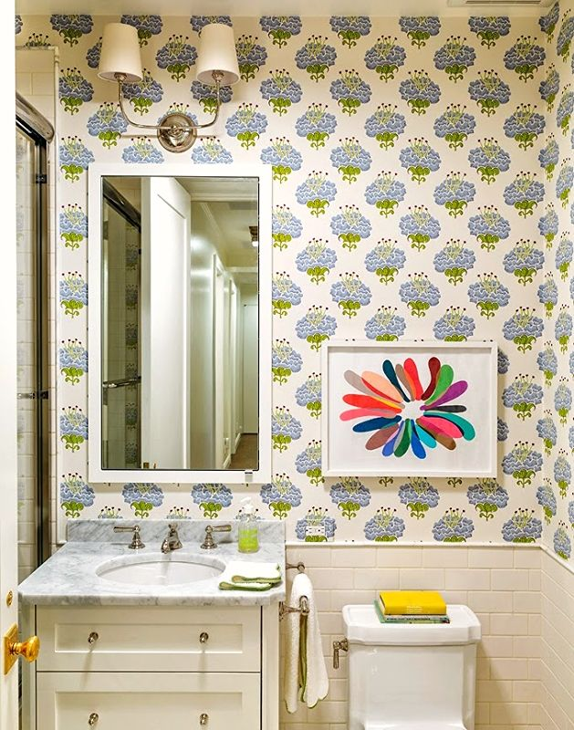 Who Knew A Bold Printed Wallpaper Could Simply Transform Powder Room Into Playful And Wallpaperwallpaper Designsbathroom