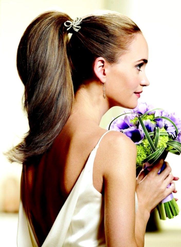 Love This Sleek Wedding Hairstyle: Bride's Sleek High #ponytail Bridal #hair Ideas ToniK