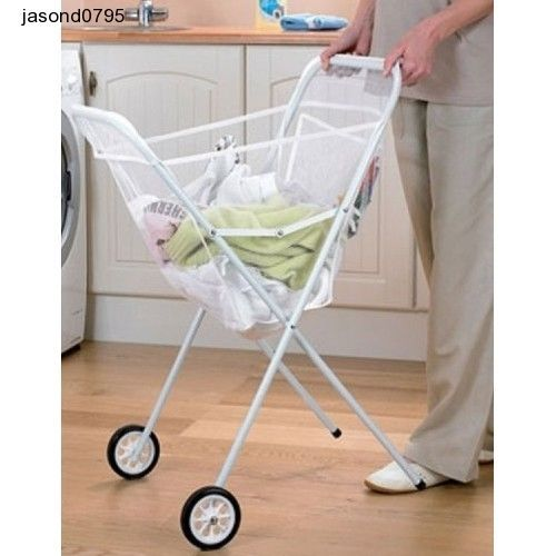 Laundry Clothes Basket Holder Wheels Cart Trolley White Net Wash Dirty Washer