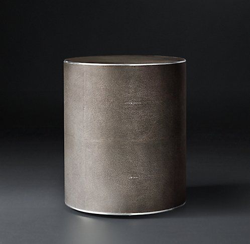 Shagreen Round Cylinder Occasional Smoke W Stainless