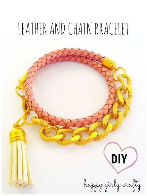 Chain and leather wrap bracelet DIY! / Φτιάξτο μόνη σου : Δερμάτινο βραχιόλι με αλυσίδα!