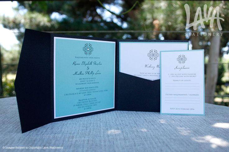 Adorn black & aqua pocket invitation by www.lavastationery.com.au
