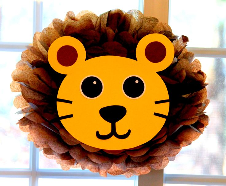 Lion pom pom kit king of the jungle safari noahs ark carnival circus baby shower first birthday party decoration. $9.99, via Etsy.