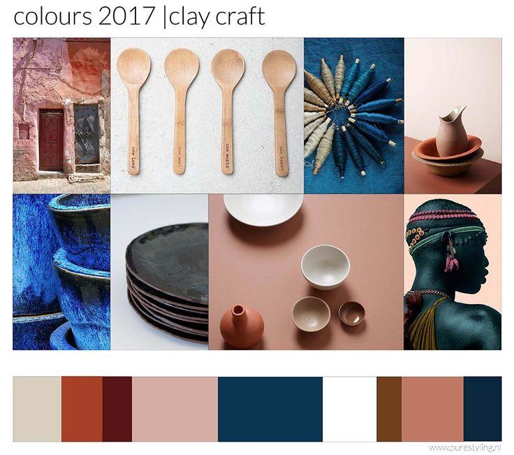 Clay craft: imperfectie, authenticiteit: het proces is belangrijk, hoe wordt iets gemaakt en door wie. Producten met persoonlijkheid. Hightech en lowtech gaan samen in proces en materiaal. Veel interesse voor ambachtelijke technieken in andere delen van de wereld. Hoofdrol voor indigo en klei- en aardetinten.