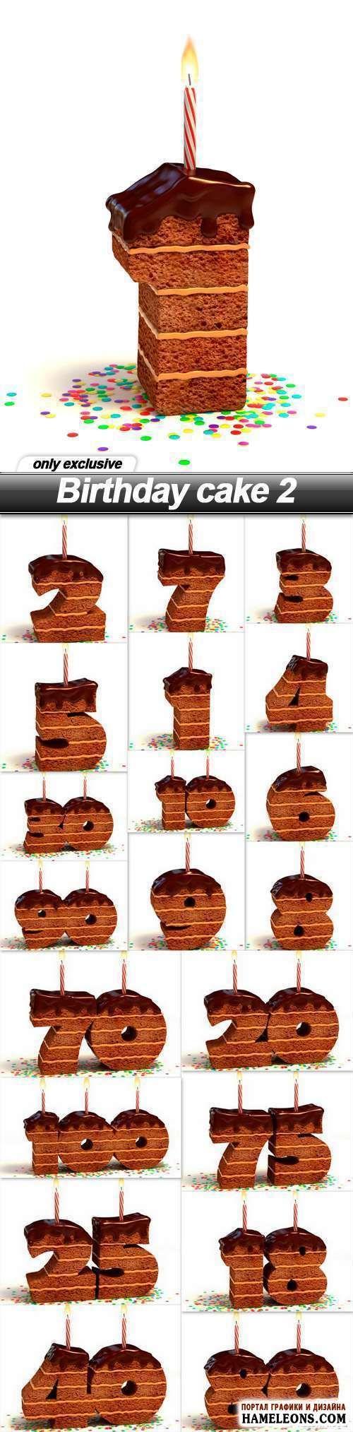 Именинные кексы в виде цифр со свечами - растровый клипарт | Birthday cake