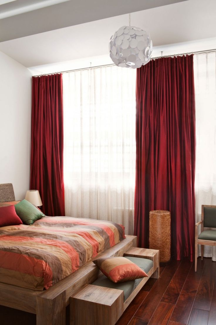Red velvet curtain wallpaper - White And Red Bedroom Curtains