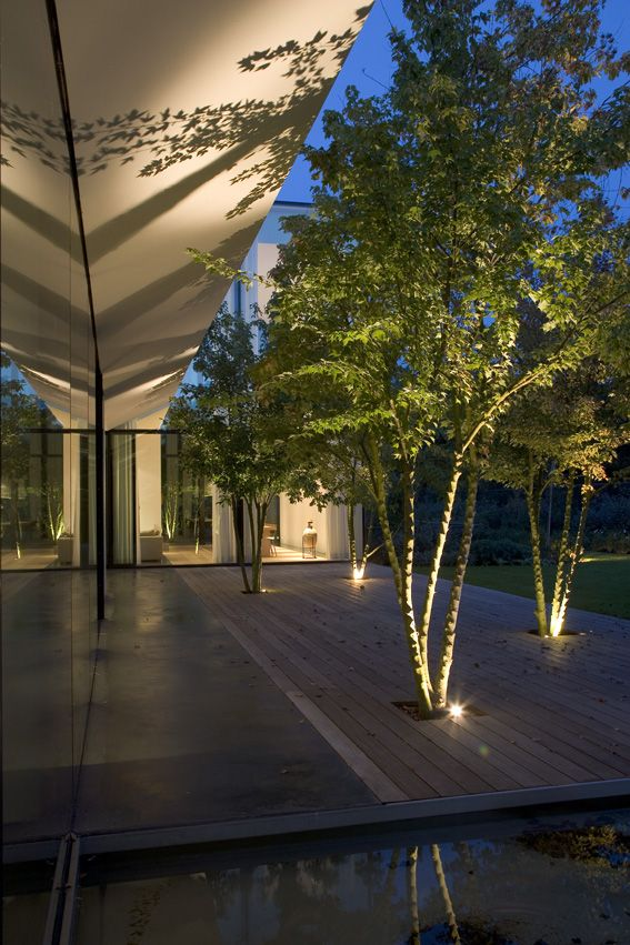 Modern architecture begs for stylish landscape lighting