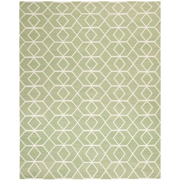 Safavieh Hand Woven Moroccan Reversible Dhurrie Sage Green Wool Rug ((3u0027 X  5u0027)), Size 3u0027 X 5u0027