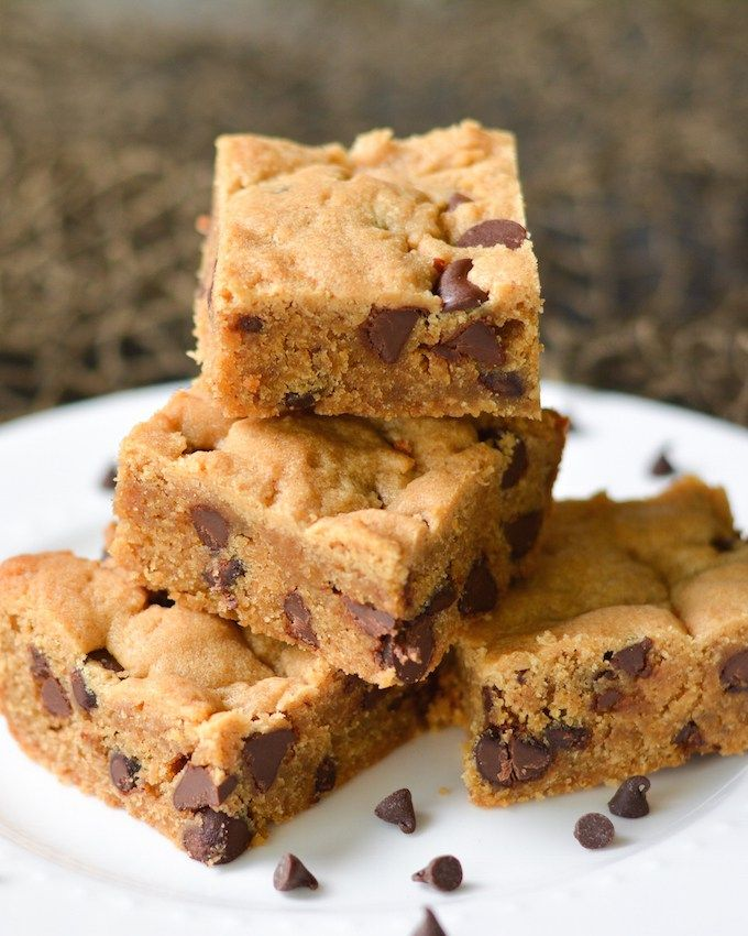 These moist peanut butter blondies are studded with lots of rich chocolate chips. Perfect for dessert or to pair with a cup of coffee!