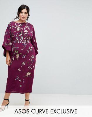 ASOS CURVE Embroidered Kimono Midi Dress UK 20
