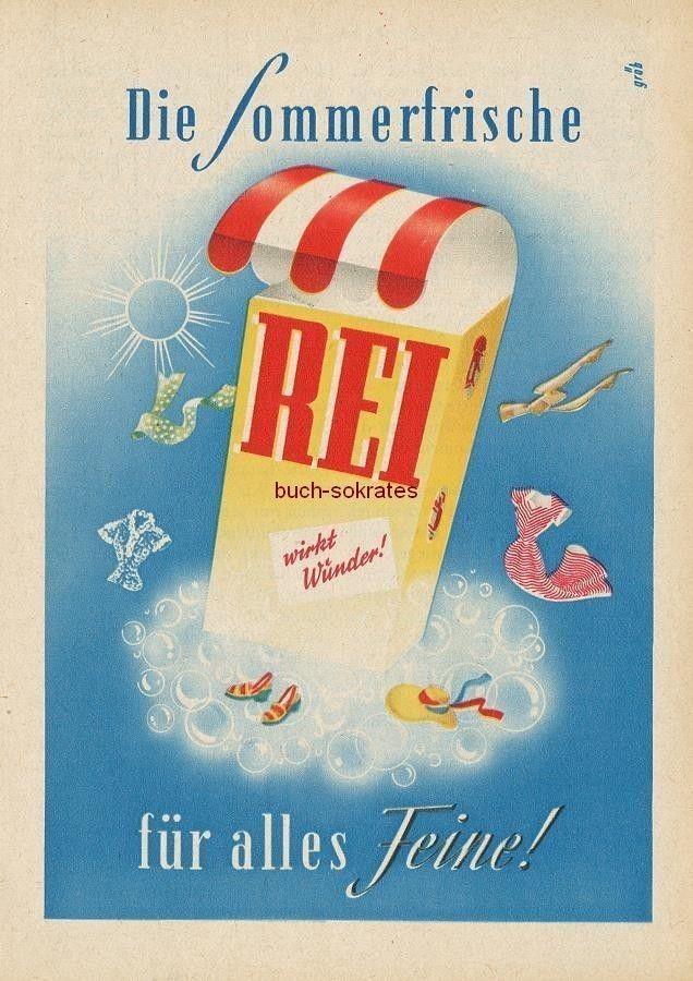 """Werbung Anzeige Rei Waschmittel - """"Die Sommerfrische für alles Feine!"""" - 1954"""