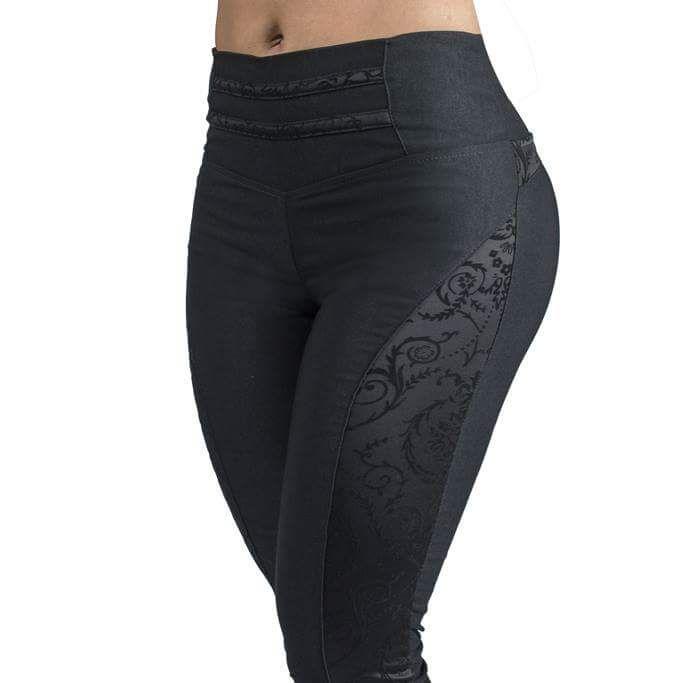 Pantalón leggins dama con apliques largó de tiro color negro aplique flores levantacola levanta cola black leggins bottom up women pants