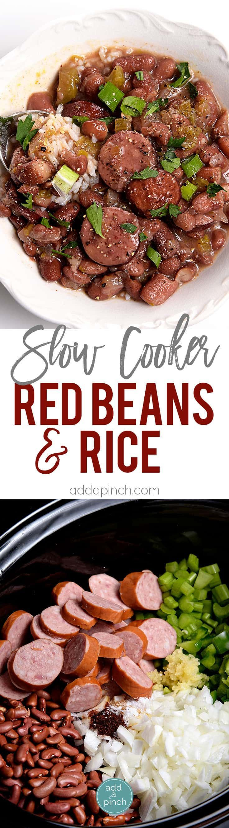 Slow Cooker Red Beans and Rice Recipe -A traditional Creole red beans and rice recipe that everyone loves made easy in the slow cooker! // addapinch.com