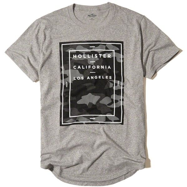 Hollister Camo Logo Graphic Tee ($18) ❤ liked on Polyvore featuring men's fashion, men's clothing, men's shirts, men's t-shirts, grey, mens crew neck t shirts, mens camouflage shirts, mens camo t shirt, mens grey t shirt and mens gray dress shirt
