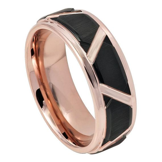 Mens Tungsten Ring Two-tone Brushed Black and Rose Gold IP Plated Trapezoids & High Polished Outlines, 8mm     This mens tungsten rings is made from Tungsten Carbide with Comfort Fit design and is ideal for Weddings, Anniversaries, or any other Special Occasions. Black wedding rings are becoming the top choice for men and even women these days due to their durability, affordable cost, and beautiful appearance.     Item Details:  SKU# TR748EL   Style: Fashion, Modern  Type: Tungsten Wedding…