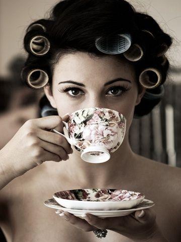 .: Hair Rollers, Teas Time, Teas Cups, Beautiful, Cups Of Teas, Curls, Drinks Teas, Photo, Teacup
