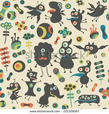 Retro seamless pattern with happy monsters and colorful flowers. #monsters #monsterillustration #vectorpattern #patterndesign #seamlesspattern