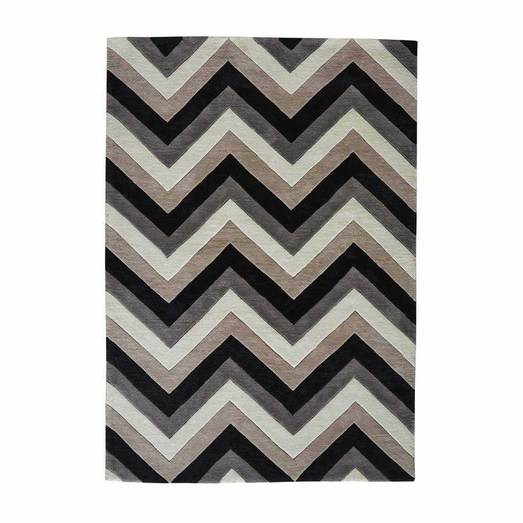 Laagpolig grijs en zwart stoffen URBAN tapijt met motieven 140 x 200 cm