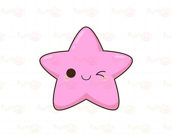 Kawaii Star Clipart Cute Stars Clip Art Galaxy Happy Funny Etsy Star Clipart Cute Stars Clip Art