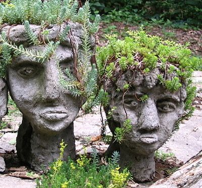 For small statues, hypertufa can be hand shaped, poured into a form or spread over burlap cloth fashioned on wire sculpture. Halloween mask...