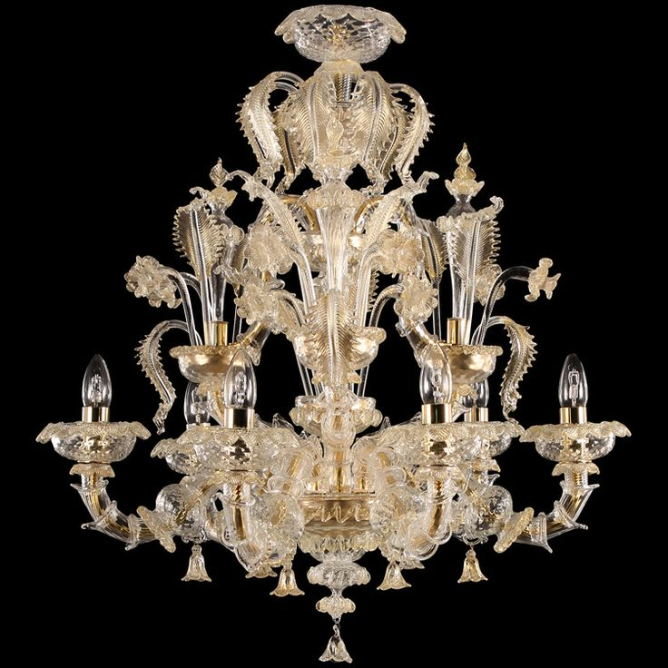#Rezzonico #chandelier, 6 lights. #Gold color.