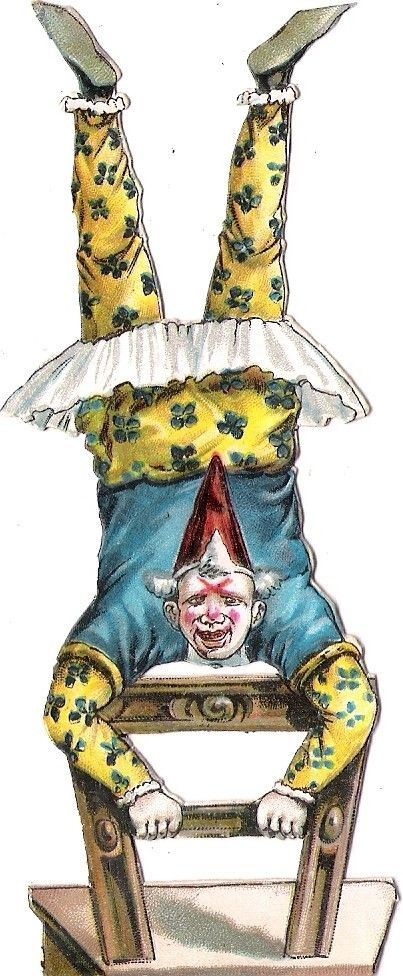 Oblaten Glanzbild scrap die cut chromo Clown Zirkus circus cirque Harlekin