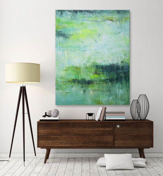 painting Abstract seascape Painting- I hope even more-Large seascape landscape yellow green painting modern wall art Elena 48x36