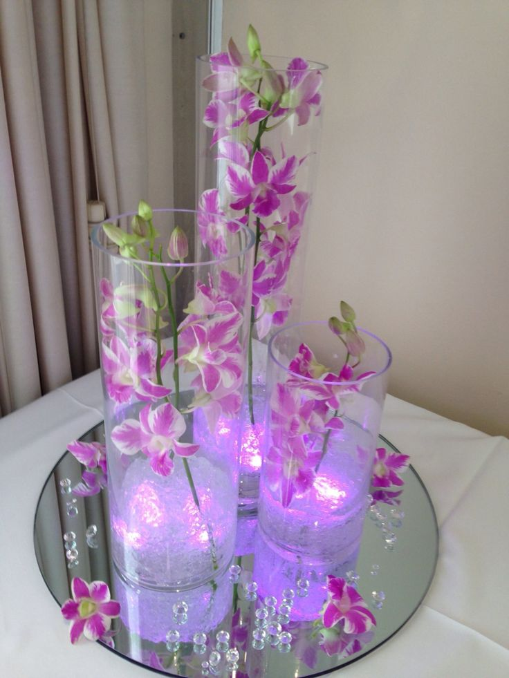 Timeless stunning illuminated trio vase. Delicate floral centrepiece