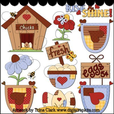 Country Chicks 1 Clip Art - Original Artwork by Trina Clark