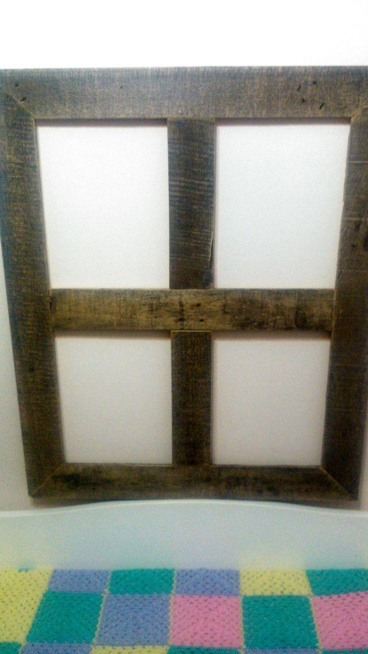 Marco de madera de palet para colocar 4 laminas de - Laminas de madera para pared ...