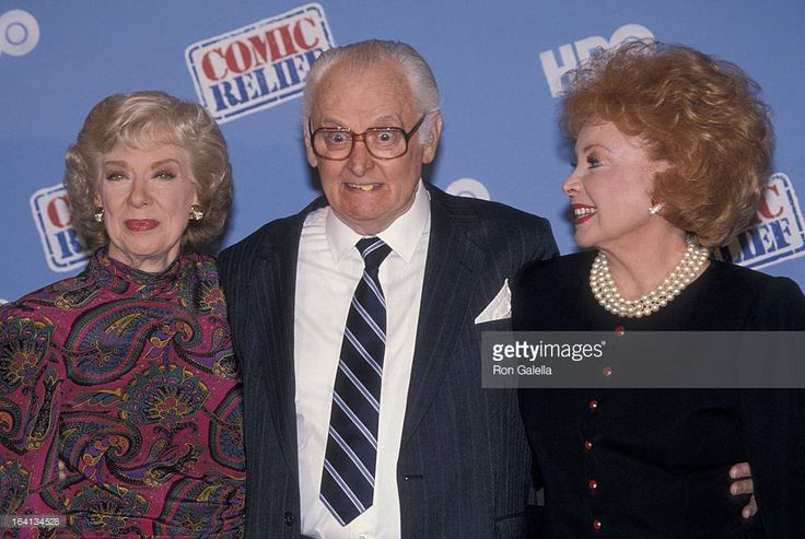 Audrey Meadows, Joyce Randolph, and Art Carney attending Comic Relief IV in NY, May 1990.
