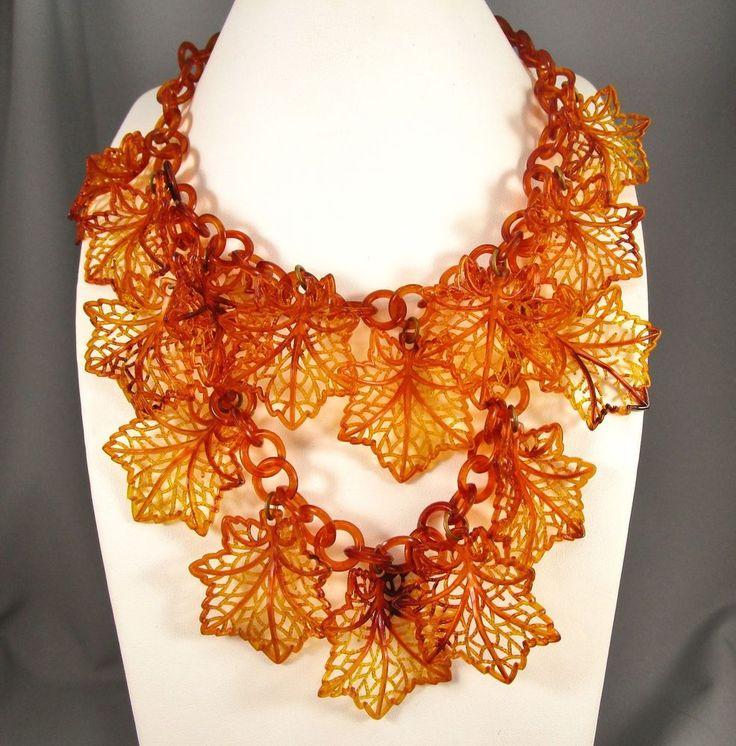 Vintage Tortoise Color Celluloid Double Strand Maple Leaves Choker Necklace #642 #Choker