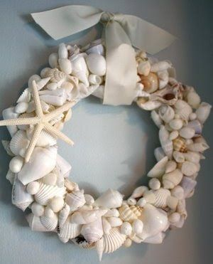 handmade seashell wreath, perfect for summer to remind you of fun vacation times and something to do with all the shells everyone collects :)