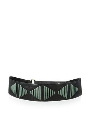 69% OFF Luciana Verde Women's Wide Stitched Waist Belt (Black/Sage)