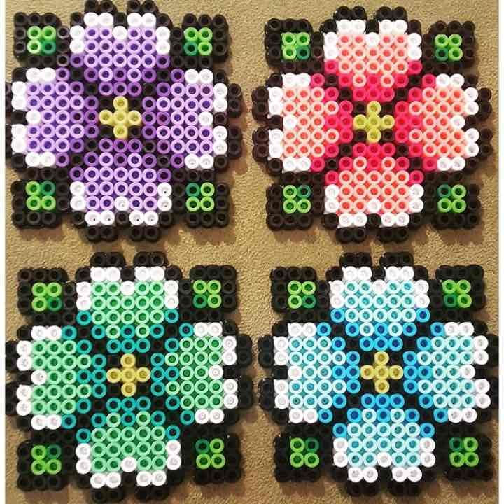 Hibiscus Perler Bead Coasters Set of 4 - Mercari: Anyone can buy & sell