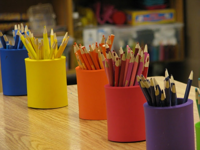 The Reading Corner: Classroom Pictures  drink cozies to color coordinate pencils