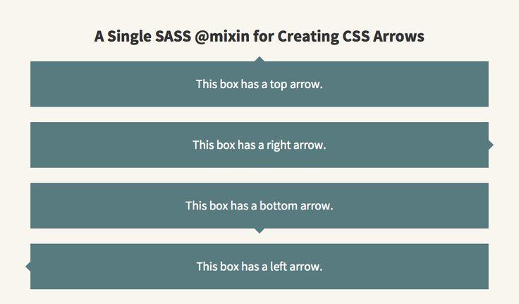 Single SASS mixin for CSS Arrows by Jon Daiello