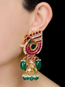 Peacock Jadau Silver Earrings by Amrapali