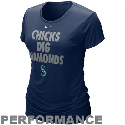 Nike Seattle Mariners Ladies Chicks Dig Diamonds Navy Blue Performance T-shirt