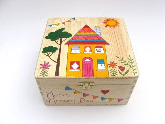 Mothers Day Memory Box, Wooden Memory Box, Keepsake Box, Large Hand Painted Wooden Memory Box with Funky House Design. This beautiful wooden