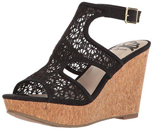 Fergalicious Women's Kendra Wedge Sandal, Black, ...