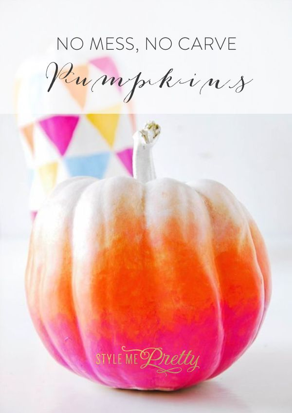 No carve pumpkins for Halloween! http://www.stylemepretty.com/collection/3114/ | DIY: The Style Insider - http://www.thestyleinsider.co.nz/