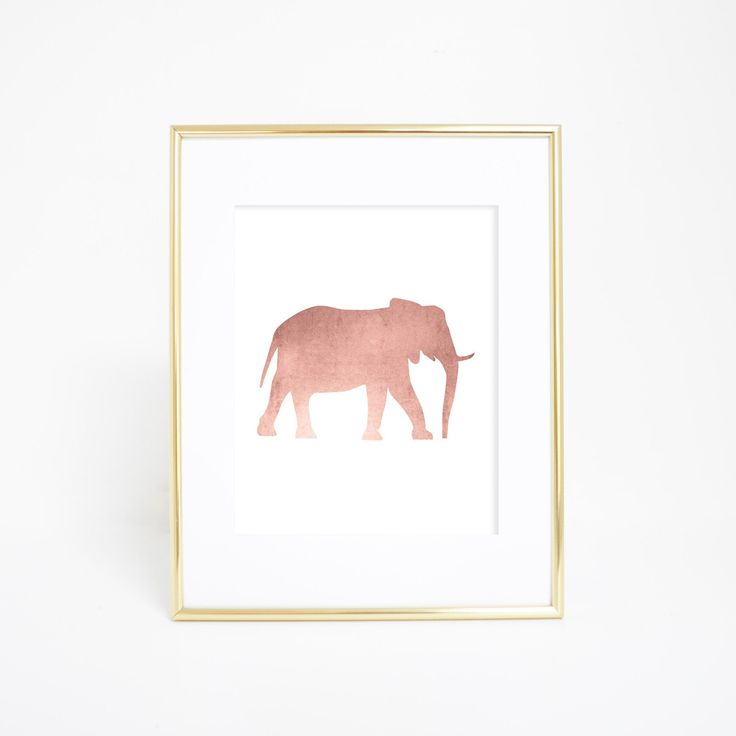 Rose Gold Elephant Artwork Wall Print