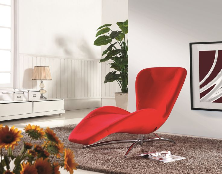 Add a contemporary look to your living room area with this sleek and modern chaise. It features comfortable padded foam seat and back covered in beautiful faux leather on steel frame and chrome finish base with floor protector pad.