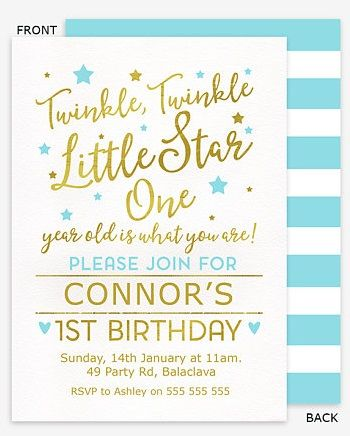 Twinkle Twinkle Little Star First Birthday Invitation Templates