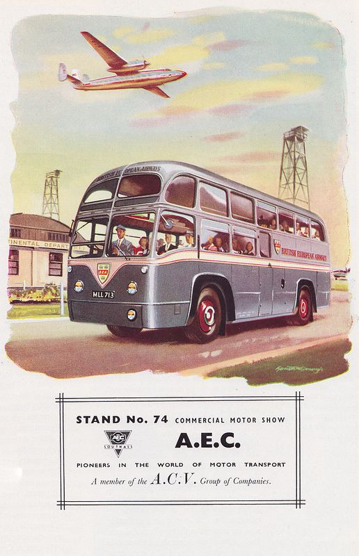 AEC - pioneers in the world of motor transport - advert, illustration by Kenneth McDonough, c1952