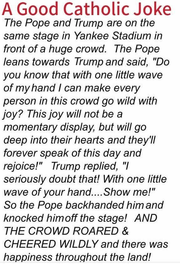 LLOL - Literally Laughed Out Loud.  #Pope #Francis #Trump